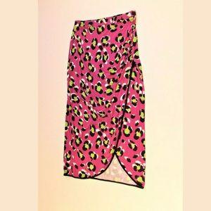 Worthington stretch printed skirt midi XL